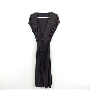 Boden Brown V Neck Wrap Midi Dress Stretch Basic